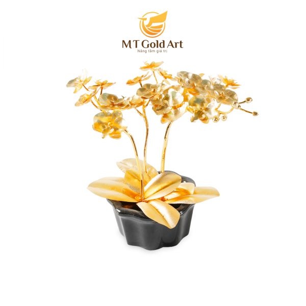 Chậu hoa lan hồ điệp dát vàng 24k