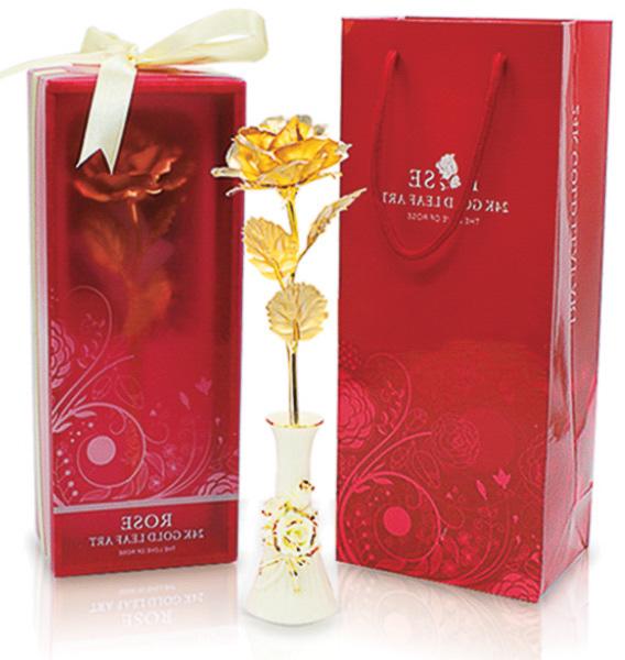 Cành hoa hồng dát vàng 24k