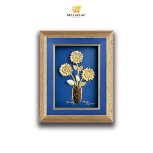 Tranh hoa hướng dương dát vàng 24k