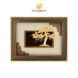 Tranh tùng hạc diên niên dát vàng (25x32cm)