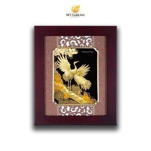 Tranh tùng hạc diên niên dát vàng 24k